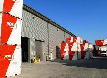 Warehouse of AGS containers