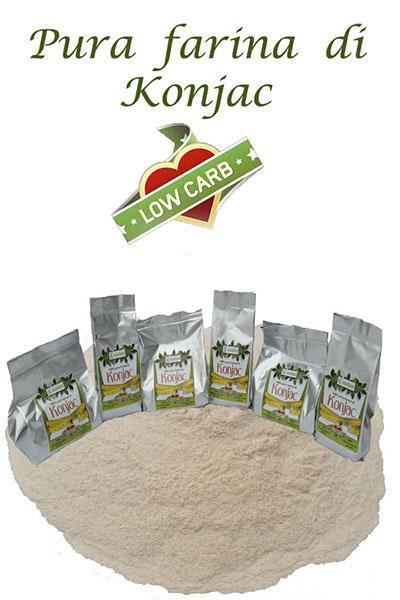 Pura farina di Konjac confezionata in ATP in confezioni da 1 kg. e da 0,5 kg.