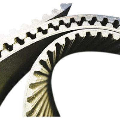 Molded rubber belts available in different lengths. Suitable for high power transmission drives.