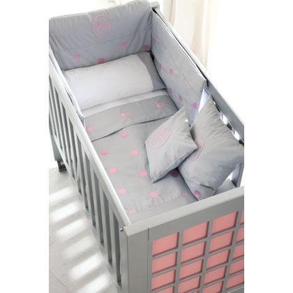 Cuna Acuario plata con textil Damaris gris bodoque rosa