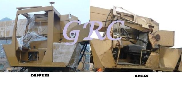 Accesorios para gruas accidentadas: cabinas de operador, estructura o chasis