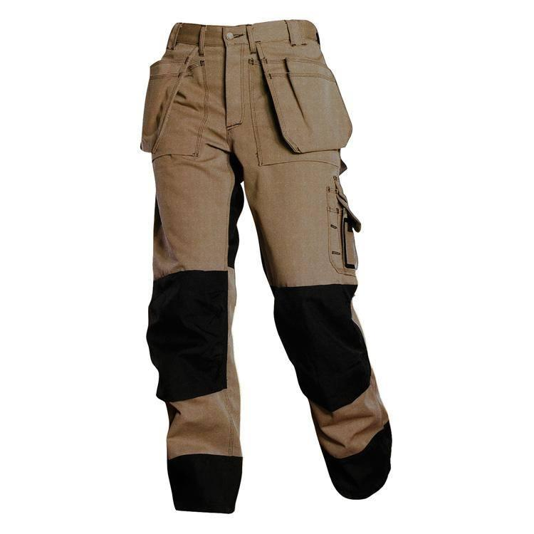 poly/cotton and 100% cotton Fabric , 250-300 gsm, assorted colors, Multi funtional  pockets for mobile , tools ,  on left & right side with flap and velcro, cordura  reinforced kneepads pockets ,