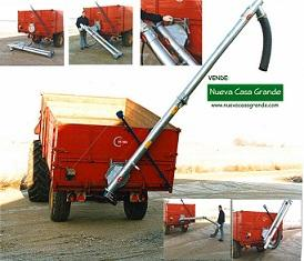Grain and fertilizer auger for mounting on tipping trailer. Working length 4,5 m. Capacity 35-40 T/h. Operating both left and right. Made in Denmark