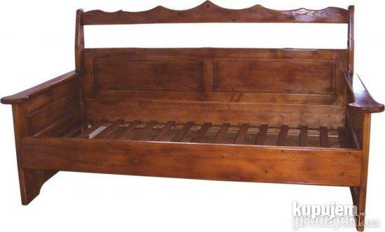 Hand made sofa,fir wood or other,dimension:width 90 cm,length 200 cm.Great as an extra bed.