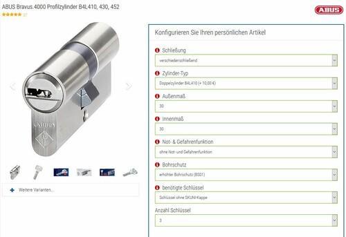 Online Schließzylinder-Konfiguration
