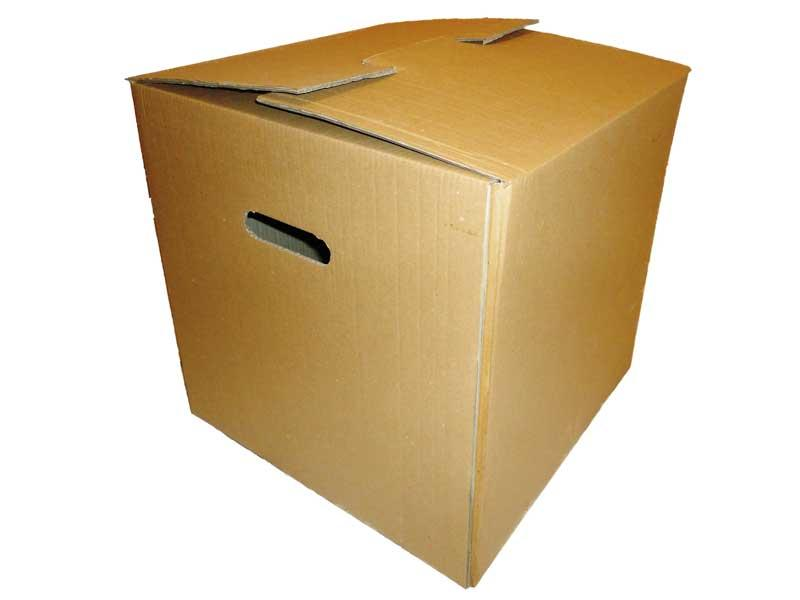 Moving boxes made with double wall cardboard, and with handles.