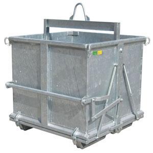 Contenitore per scarti di marmo, dotato di molle per il richiamo fondi, può essere utilizzato e manovrato sia con carrello elevatore sia con gru, disponibile in cinque differenti misure.