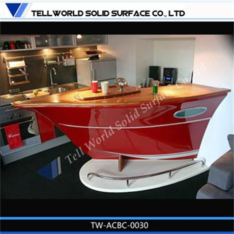 Boat shaped kitchen bar counter