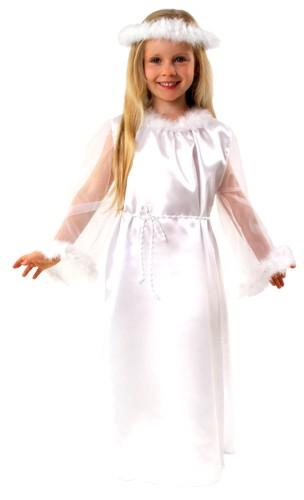 Costume consists of a dress, belt, aureolki Materials: satin, tulle, decorative tape, marabou Available sizes: 98/104, 110/116, 122/128, 134/140