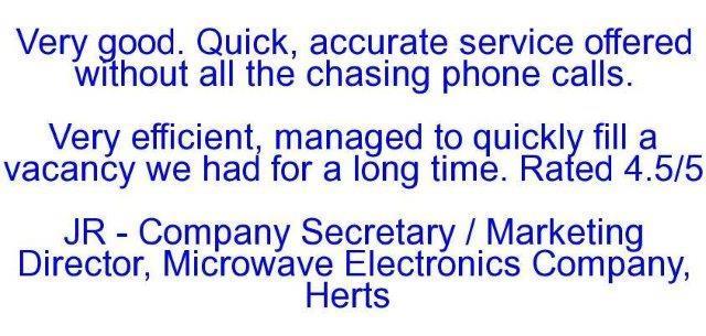 Company Secretary / Marketing Director, Microwave Electronics Company, Herts