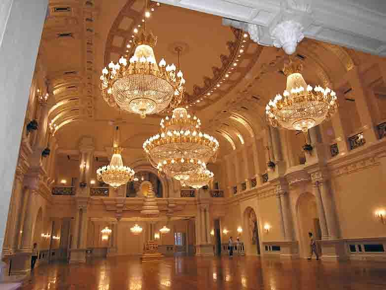 Custom made chandeliers, crystal and gilded 24 k bronze