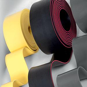 Rubber sheeting and matted