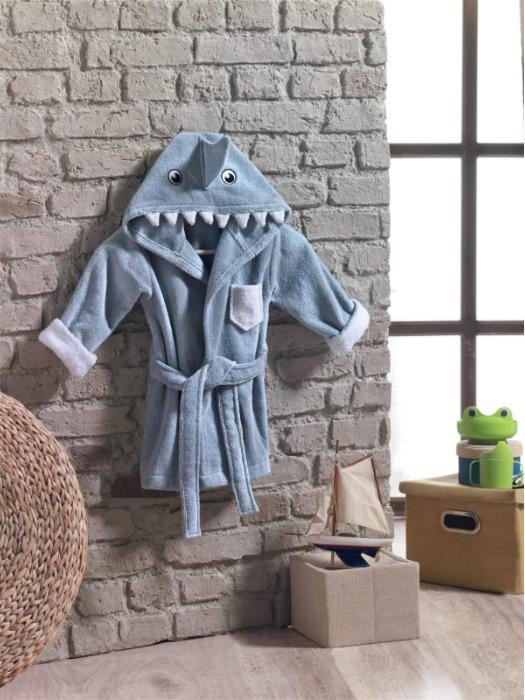 Baby Bademantel mit Kapuze (Haifisch)