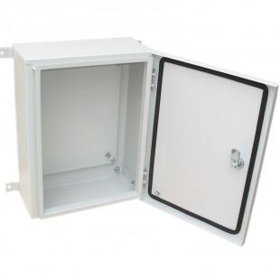 Enclosure with mounting plate, types: КЭП А.В.С.-Х.Х.Х.Х IPХХ,  КЭM А.В.С.-Х IPХХ,  ЩО А.В.С.-Х IPХХ,  ПУ А.В.С.-Х IPХХ, where A — height, B — width,  C — depth, X - design of doors, floor, mounting e