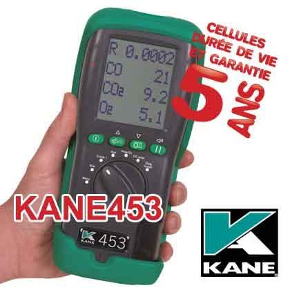 Analyseur de combustion KANE453. Analyseur de combustion pour les installations fioul, gaz et granulés.Mesure ou calcule CO2, O2, CO, température des fumées, ambiante et nette, rendement...