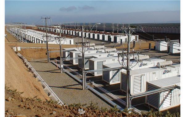Centrale de production avec 5 x 16 groupes électrogènes en container en couplage permanent réseau