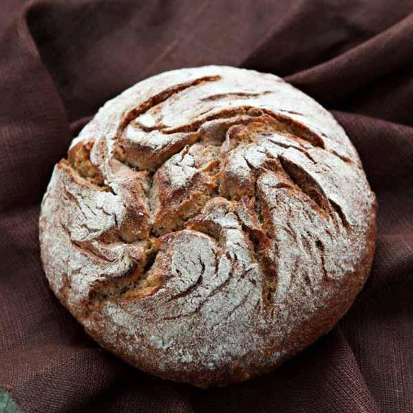 The surface is decorated with flour, the bread is very crunchy, soft and moist. Bread is made from wheat and rye flour. Due to the natural fermentation, bread has a special flavor, aroma & appearance.