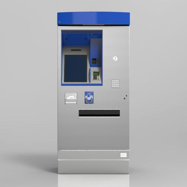 Compact ticket vending machine, just 800 mm wide, offering a full range of functions, designed for use in demanding environments, both indoors and outdoors.