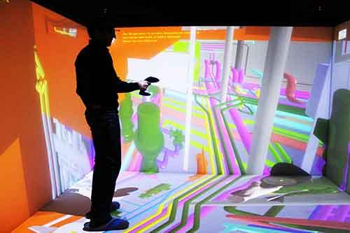 Catia instantly displayed on a CAVE with TechViz, VR software. Without data conversion and in 1:1 scale. TechViz is works on any VR system with any application. For project reviews, VR collaboration