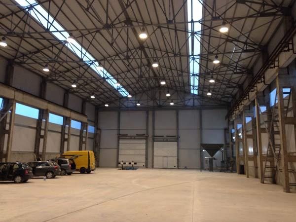 Hangar reconstruction Kybartai Location: Kybartai, Lithuania Type: PVC Hangar reconstruction Cover: White PVC tarpaulin Frame: Steel S350GD+Z275MA cold bent steel profile Geometry: Hangar design