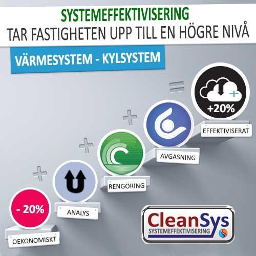 Cleansys systemeffektiviserar fastigheter, ger en besparing på upp till 20% på drift/energi kostnaden.