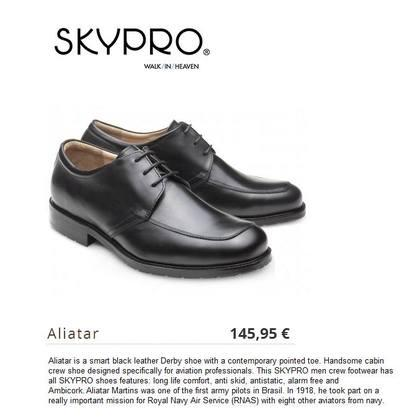 Airline Shoes - Aliatar is a smart black leather Derby shoe with a contemporary pointed toe.