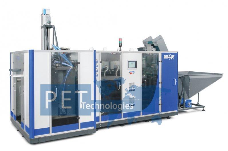 Máquina sopladora automática paragarrafones de 5 galones, barriles de PET de 20 – 30 litros. La producción es hasta 200 bph. Salida orientada de botella soplada