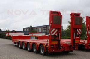 Lowbed which is knows also low loader and can carry heavy loads, dozers, construction machines, transformer, generator and different kind of big machines.