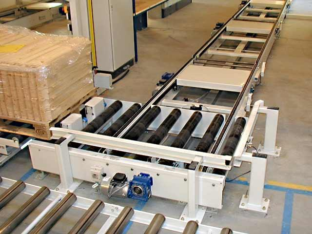 Roller conveyor with integrated chain conveyor