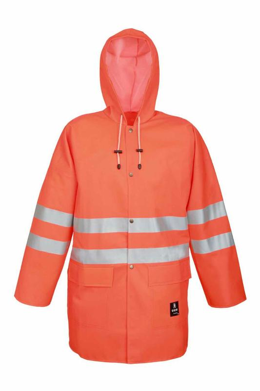 The jacket is fastened with snaps. It has a hood and 2 welded pockets with flaps protection. Reflective tapes on the jacket make workers more visible.