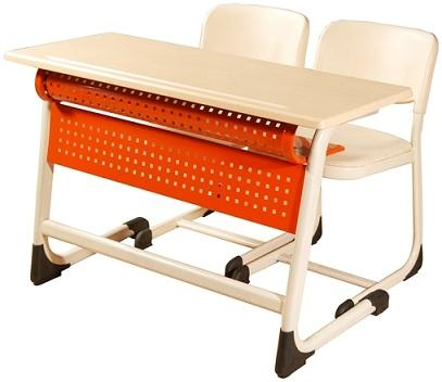 Inci Double School Desk With Panel - 110x45x68-76H