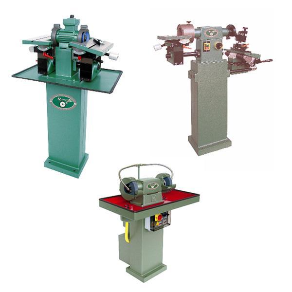 Machine pour l'affûtage des outils coupants, sous arrosage, meules diamants, simple poste ou double postes pour ébauche et finition.