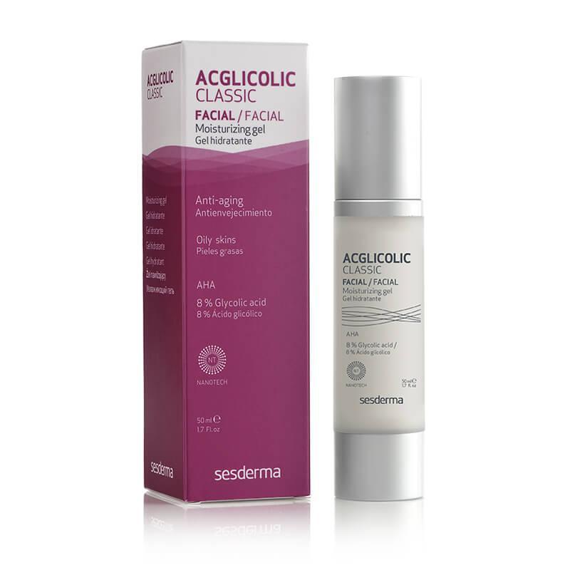 Gel antienvejecimiento con ácido glicólico libre y liposomado que renueva, regenera e hidrata la piel. Indicada para pieles grasas o con tendencia acnéica.
