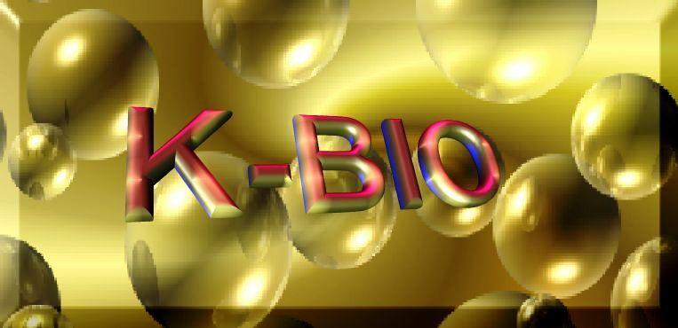 K-BIO Institute Logo, eingebetet über eine Zellkultur, zur Verdeutlichung der Zellbiologischen Tätigkeit des Institutes, das ist die Blutbearbeitung zur Bildung der autologen Impfung AHIZE gegen Krebs