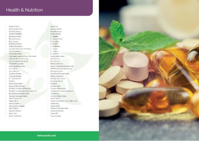 Ascot Health & Nutrition Product List