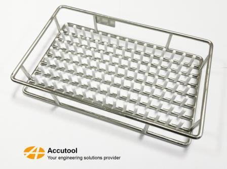 Electro polished cleanline basket with plastic protective inserts