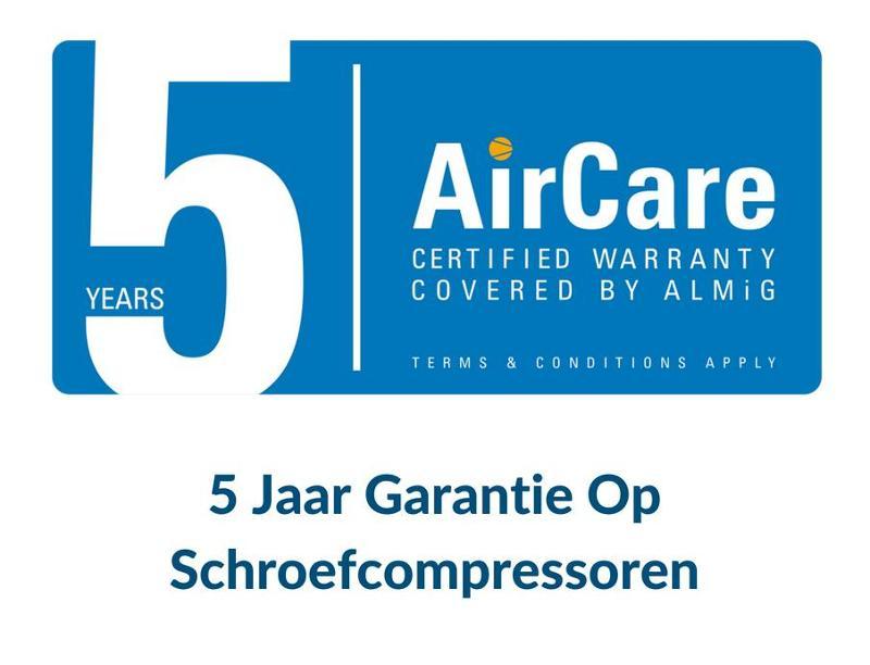 5 jaar garantie op schroefcompressoren