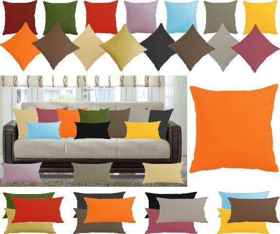 Leinen-Optik Kissenbezug erhältlich in 19 Größen und 27 uni Farben mit Reißverschluss oder Hotellverschluss.