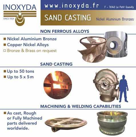 Sand casting of copper alloys, mainly nickel aluminium bronze. Maximum weight: 50 tons.  Staff: 50 employees. Turnover: approx. 8 M€