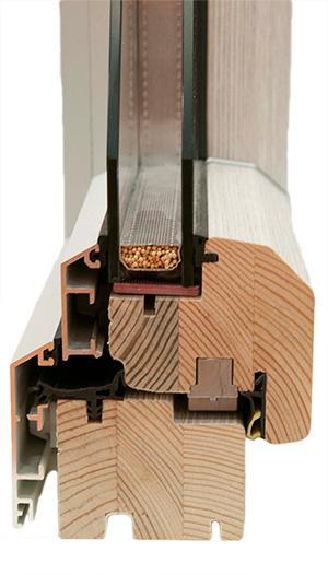 Wood-Aluminium window systems with double glazing or triple glazing (upto Uw = 0,8 W/m2K)
