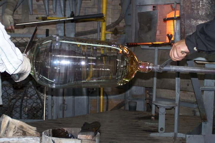photo process of blowing glass at our factory
