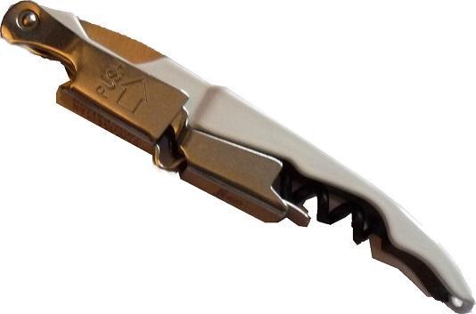 Sommelier tire-bouchon métal avec double levier, vrille téflonnée, lame à décacheter et personnalisable