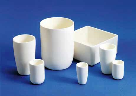 Crucibles and pans for high-temperature processes