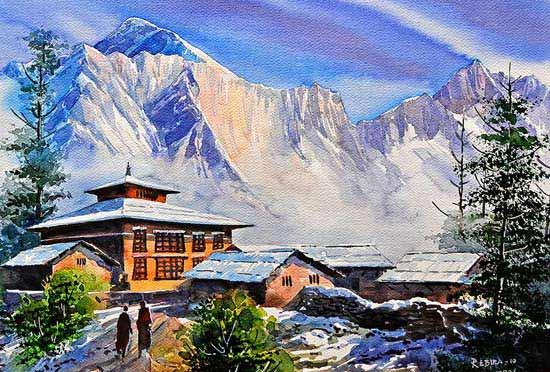 Watercolor paintings Aquarelle aus Nepal