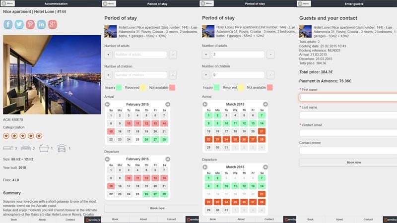Mobile optimized booking