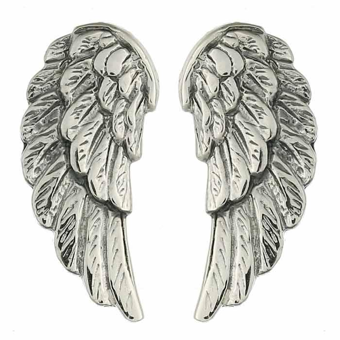Antiqued finish that makes the sterling silver wings as if composed of real feathers. Secured by a silver butterfly type earring back.