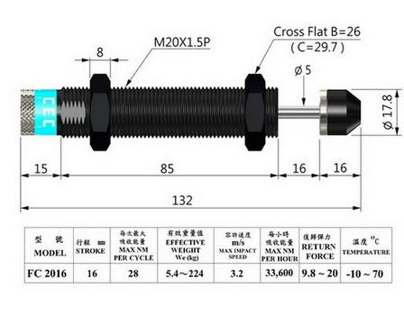 Adjustable shock absorber, thread M20 pitch 1.5  mm, stroke 16 mm, black anodized.