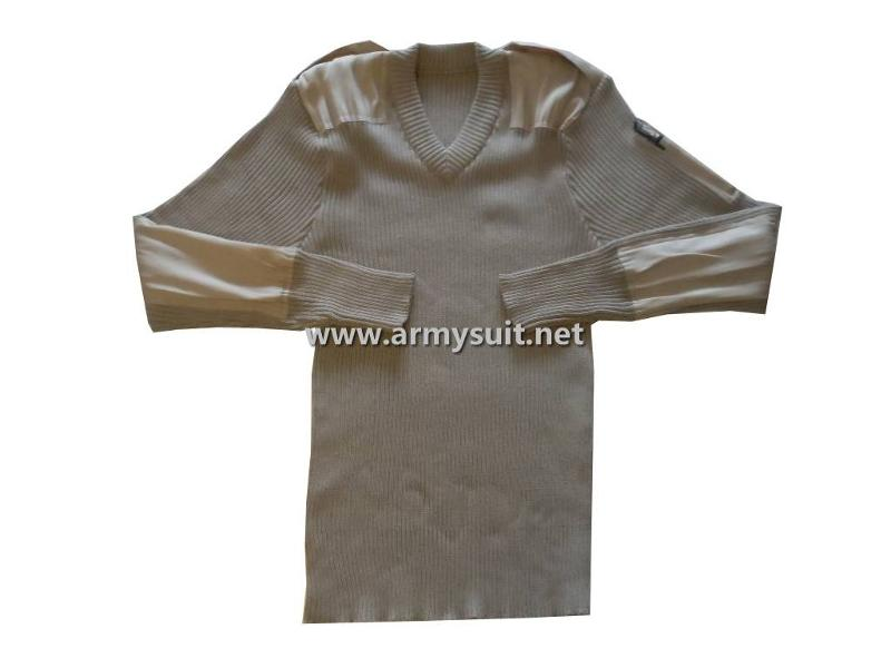 design features: a. Rib Knit; b. Shoulder Straps; c. Elbow and Shoulder Patches; d. Pencil Pocket on sleeve; e. V-neck Material:100% Acrylic