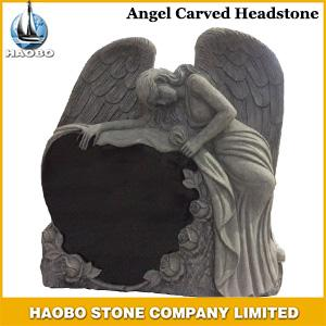 Haobo Angel 3D Carved Headstone in Black Granite