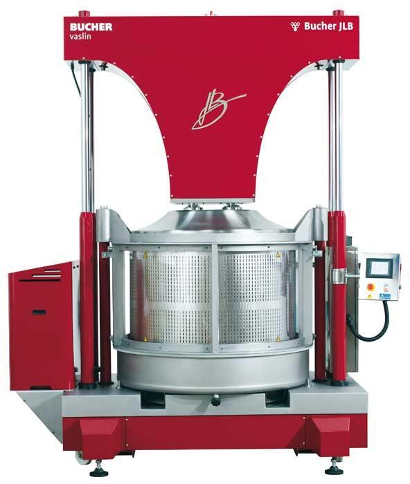 Pressoirs verticaux hydrauliques Bucher JLB. Bucher JLB 12/20 Basket Press. Fabricant équipements pour viticulteurs. Fournisseur équipements de vinification.